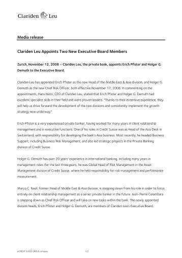 Media Release - Clariden Leu Appoints Two New Executive Board ...