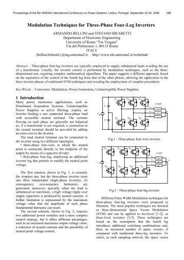 Modulation Techniques for Three-Phase Four-Leg Inverters - LabPlan