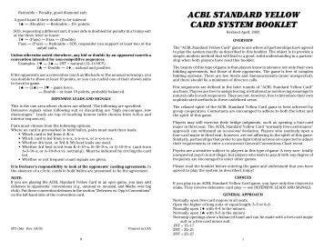 ACBL STANDARD YELLOW CARD SYSTEM BOOKLET - Bridge Guys