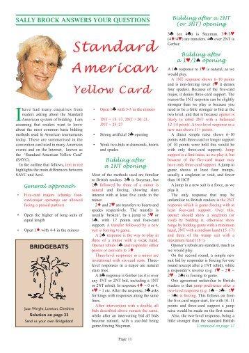 Standard American Yellow Card - Mr Bridge