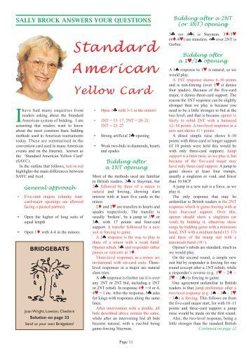 Standard American Yellow Card - Mr Bridge