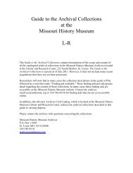 Guide to the Archival Collections, L-R.pdf - Missouri History Museum
