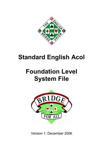 Standard English Acol Foundation Level System File