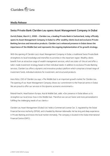 Media Release Swiss Private Bank Clariden Leu opens Asset ...