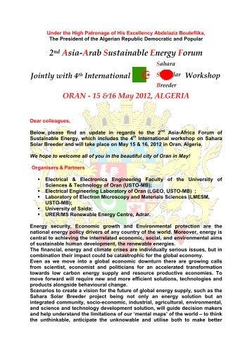 2nd Asia-Arab Sustainable Energy Forum ORAN - Université de Saida
