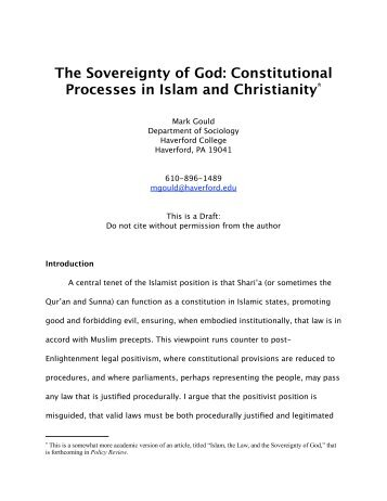 The Sovereignty of God: Constitutional Processes in Islam and ...