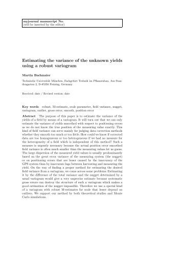 Estimating the variance of the unknown yields ... - Tec.wzw.tum.de