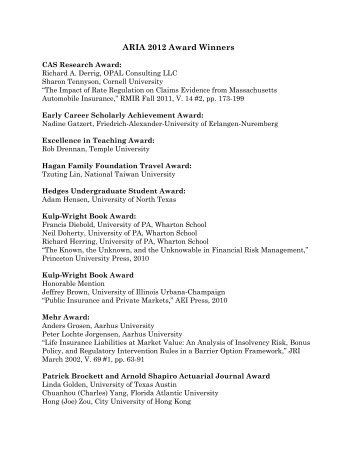 ARIA 2012 Award Winners - American Risk and Insurance Association