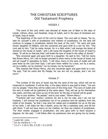 THE CHRISTIAN SCRIPTURES Old Testament Prophecy - Angelfire