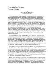 Columbia Pro Cantare Program Notes Mozart's Requiem