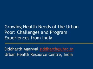 Growing Health Needs of the Urban Poor: Challenges and Program ...