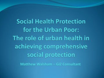 Social Health Protection for the Urban Poor - UNDP in Bangladesh