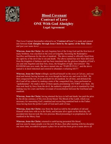 Contract of Love - Embassy of Christ : Advance Ministries