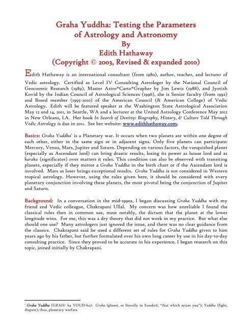 Graha Yuddha: Testing the Parameters of     - Edith Hathaway