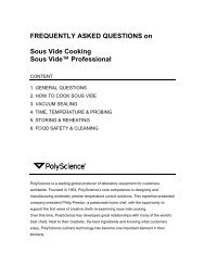 FREQUENTLY ASKED QUESTIONS on Sous Vide ... - PolyScience