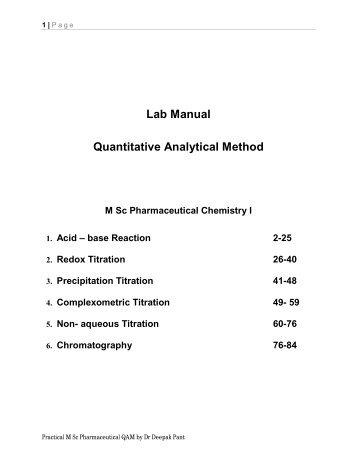 lab manual quantitative analytical method m sc pharmaceutical rh yumpu com Analytical Labs Logos Analytical Lab Designs