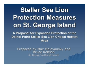 Steller Sea Lion Protection Measures on St. George Island - NOAA