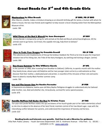 Great Reads for 3rd and 4th Grade Girls - Villa Park Public Library