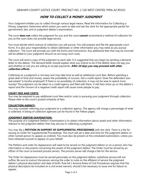 how to collect a money judgment - County of Graham, Arizona Demand For Payment Letter Template Judgement on credit application letter template, guaranty letter template, receipt letter template, bill of sale letter template, past due reminder letter template, demand outstanding letter payment, notice of default letter template,