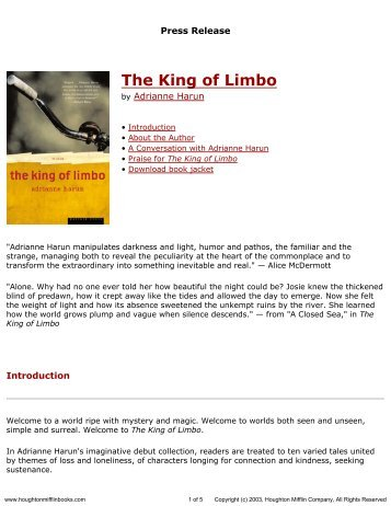 Press Release for The King of Limbo published by Houghton Mifflin ...