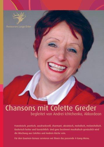 Chansons mit Colette Greder - Parkrestaurant Lange Erlen
