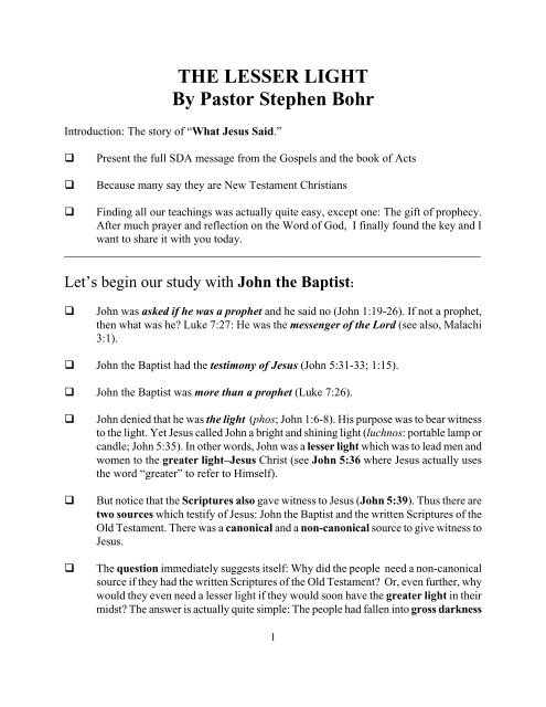 THE LESSER LIGHT By Pastor Stephen Bohr - Secrets Unsealed