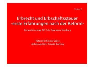 Erbrecht und Erbschaftssteuer - Sparkasse Duisburg