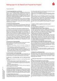 Bedingungen für die MasterCard Prepaid - Sparkasse  Duisburg