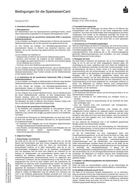 Bedingungen für die SparkassenCard - Sparkasse Duisburg