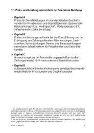 1.1 Preis- und Leistungsverzeichnis der Sparkasse Duisburg ...