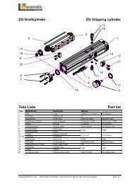 ZG Greifzylinder ZG Gripping cylinder Teile Liste Part list