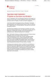Spenden statt Kalender - Sparkasse Duisburg