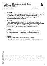 Preis- und Leistungsverzeichnis - Sparkasse Hamm