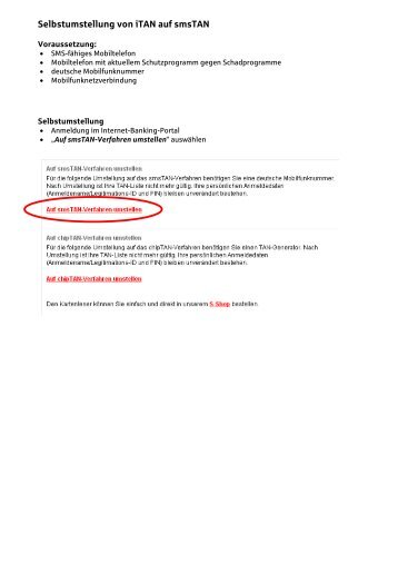 Selbstumstellung von iTAN auf smsTAN - Sparkasse Neu-Ulm ...
