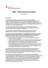 FAQ's - Sparkasse im Landkreis Schwandorf
