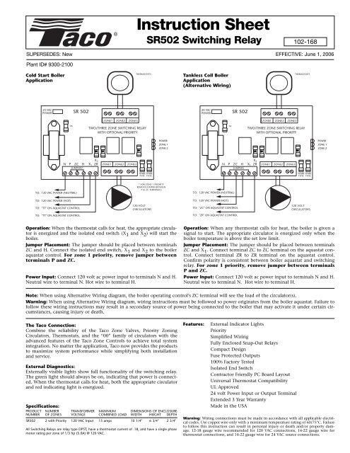 SR502 (102-168) IN.SH. W/FUSES - Taco-HvacYumpu