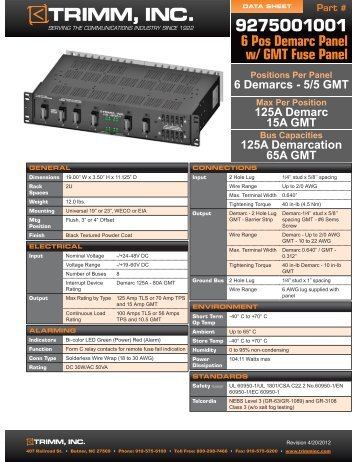 6 Pos Demarc Panel w/ GMT Fuse Panel - Trimm, Inc.