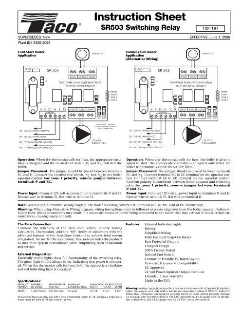 SR503 (102-167) in sh w/fuses - Taco-HvacYumpu