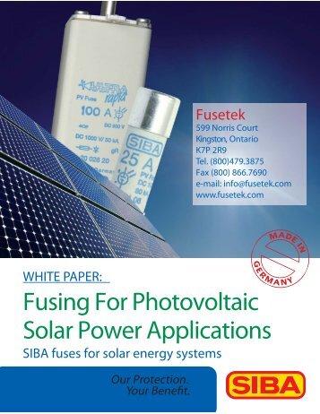 Fusing For Photovoltaic Solar Power Applications - Fusetek