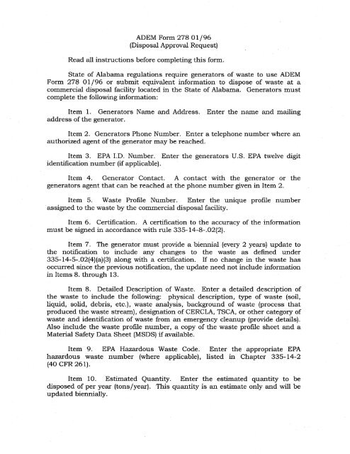 ADEM Form 278 01/96 (Disposal Approval Request) Read all