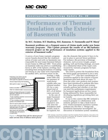 Performance of Thermal Insulation on the Exterior of - National ...