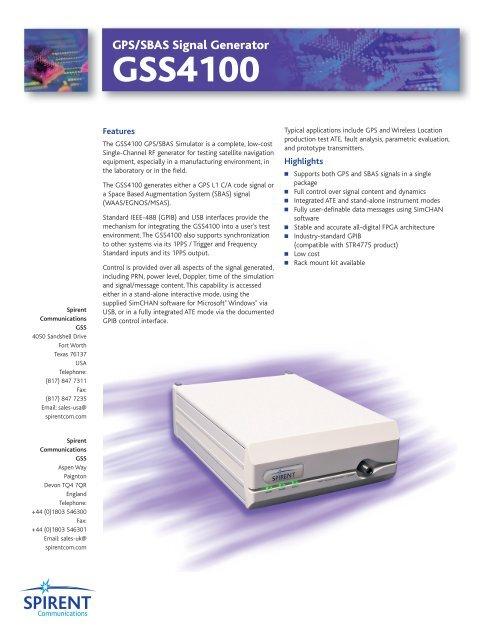 GSS4100 GPS/SBAS Signal Generator - TekNet Electronics