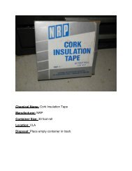 Chemical Name: Cork Insulation Tape Manufacturer: NRP Container ...