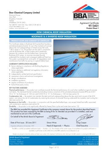 roofmate sl-x - Dow Building Solutions
