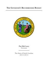 The Governor's recommended BudGeT