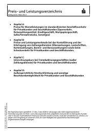 Preis- und Leistungsverzeichnis - Sparkasse Wiehl