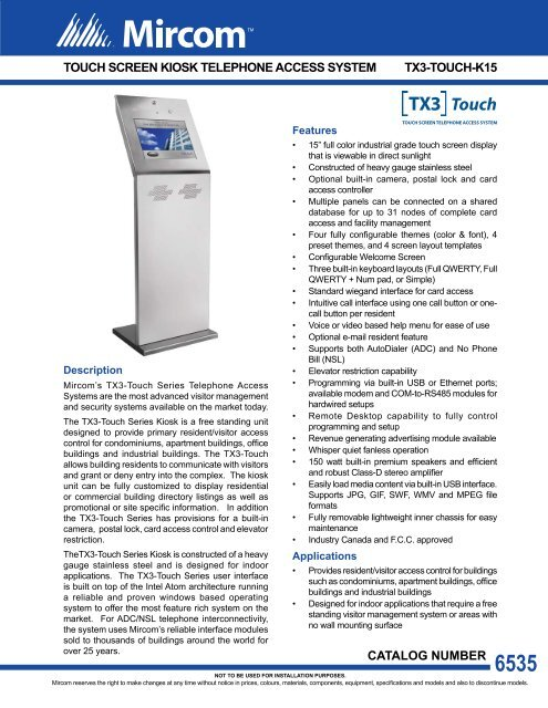 Touch Screen Kiosk Telephone Access System Mircom