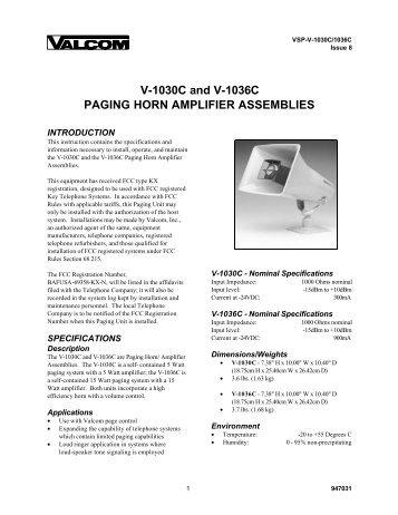 v 1030c and the v 1036c paging horn amplifier valcom?quality=85 1watt voice coil horn v 5331001 valcom paging equipment  at alyssarenee.co