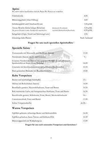 Apéro Spezielle Salate Kalte Vorspeisen Warme Vorspeisen