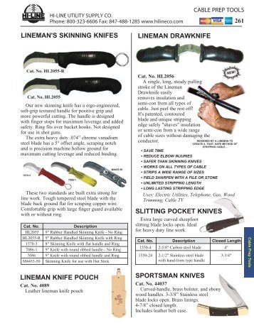 Skinning Knives, Cable Strippers, Cable Benders, Chamfering Tools